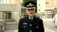 Metropolitan Police press conference ENGLAND London New Scotland Yard EXT Commander Adrian Hanstock press conference SOT Last nights events in...