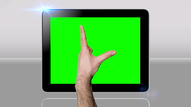 Touchscreen tablet gestures with green screen. HD