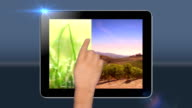 Touchscreen tablet with green screen transition. HD