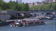 Zoom Out Eiffel Tower and the Seine Long Shot