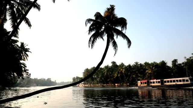 Tourist and House boat backwaters, Kerala, India, Asia
