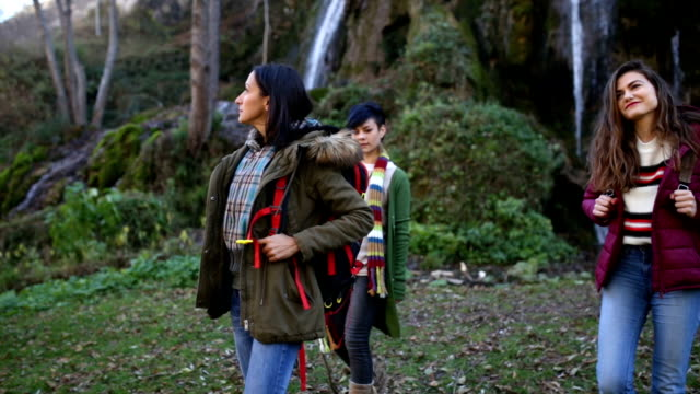 Tourist Girls Admiring Natural Parkland