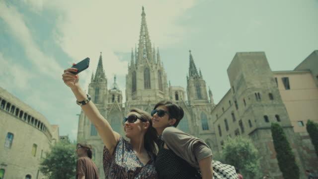 Toeristische meisjes in barri gotic, Barcelona, Spanje Spanje