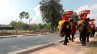 Tourist group rides through the city on elephants