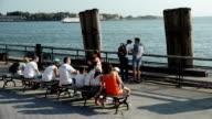Tourist in Battery Park, New York City