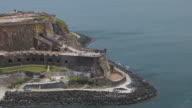 MS ZI AERIAL POV Tourist on Morro Castle / Old San Juan, Puerto Rico, United States