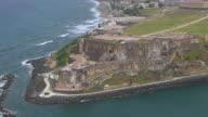 MS ZO AERIAL POV Tourist on Morro Castle / Old San Juan, Puerto Rico, United States