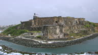 MS AERIAL POV ZO Tourist standing on Morro Castle / Old San Juan, Puerto Rico, United States
