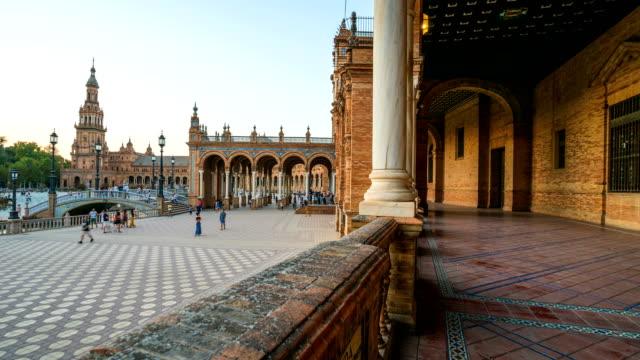 T/L Touristen zu Fuß zur Plaza de Espana, Sevilla, Spanien