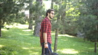 Tourist walking in park