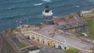 MS ZO AERIAL POV Tourist walking on Morro Castle / Old San Juan, Puerto Rico, United States