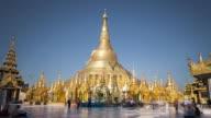 TL, WS Tourists and worshippers at Schwedagon Pagoda / Yangon, Myanmar