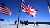 Tourists at magnetic South Pole (unrecognizable)