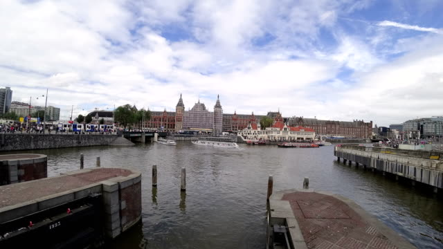 Tourists boats in Amsterdam, Netherlands capital city