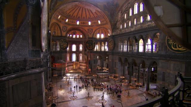 Tourists explore the interior of the Hagia Sophia in Istanbul.