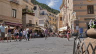 Tourists on Duomo Piazza, Amalfi, Costiera Amalfitana (Amalfi Coast), UNESCO World Heritage Site, Campania, Italy, Europe
