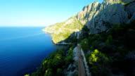 AERIAL Tourists On Island Hvar