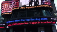 Tourists passing by the digital news ticker on Times Square
