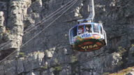 Tourists ride the Table Mountain cable car
