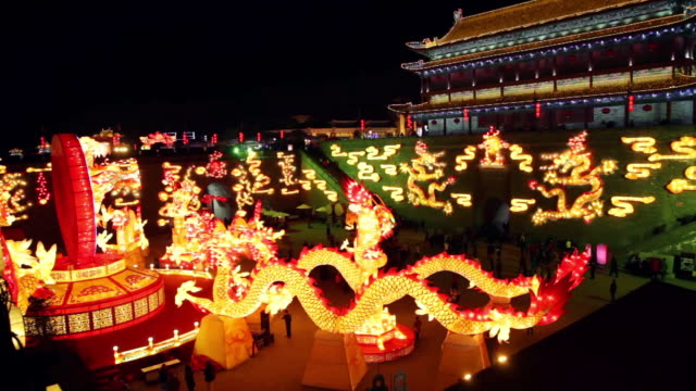 MS PAN Tourists roaming new year lantern festival at city wall / xi'an, shaanxi, china