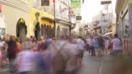T/L Tourists Rushing Through Getreidegasse (Grain Lane) in Salzburg and Passing the Birthplace of Wolfgang Amadeus Mozart