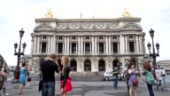 Tourists taking pictures in front of Opéra Garnier in Paris France