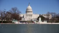 WS Tourists visit the US Capitol reflecting pool on February 19 2014 in Washington DC USA