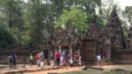Tourists visiting Banteay Srei temple