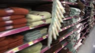 Towels and Linens Aisle at Walmart on November 25 2013 in Los Angeles California