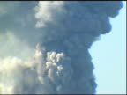 9/11/01 Tower 1 burns collapses Building water supply tanks on roof w/ people gathered watching FG Huge clouds of smoke SOUND radio report interview...