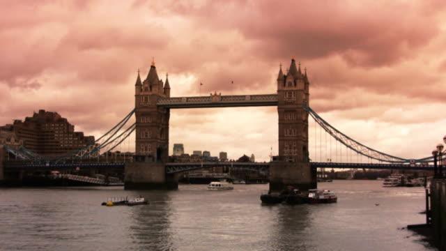 Tower Bridge and Thames River, London, sunset (HD, PAL, NTSC)