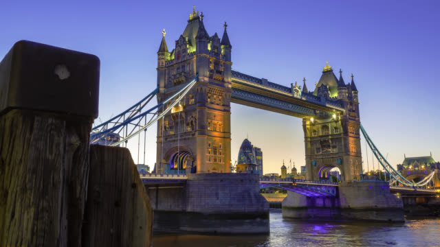 Tower Bridge in London at sunset.