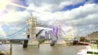 Tower Bridge, London opening and closing. HD