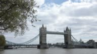 Tower Bridge spans the River Thames in London UK on Monday April 10 2017
