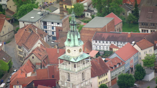 MS AERIAL Tower of church with houses and streets at Bad Langensalza / Germany
