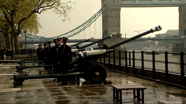 Tower of London Gun Salute More of King's Troop standing ready / 41 Royal Gun Salute to mark Queen's 88th birthday SOT