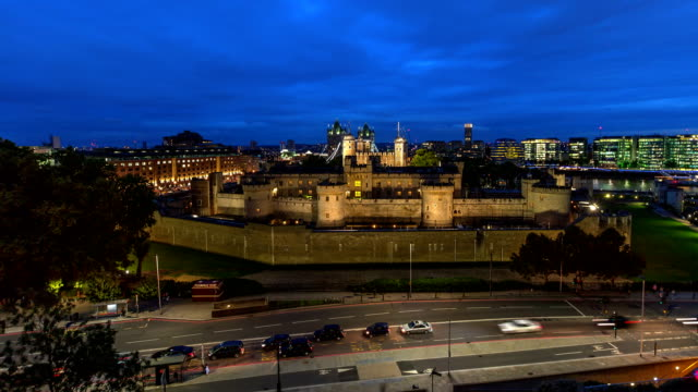 Tower of London high view day to night lapse