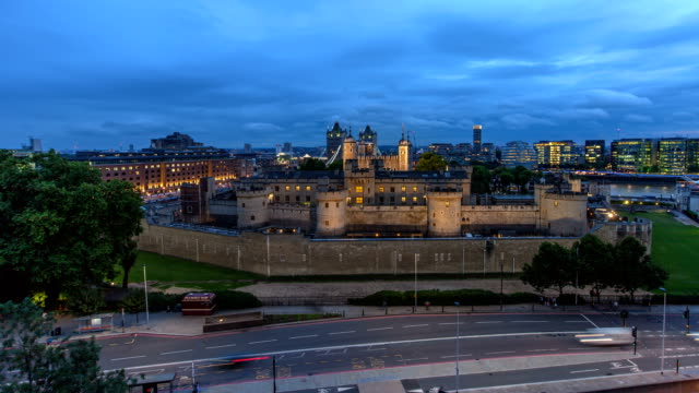 Tower of London high view day to night lapse with pullback