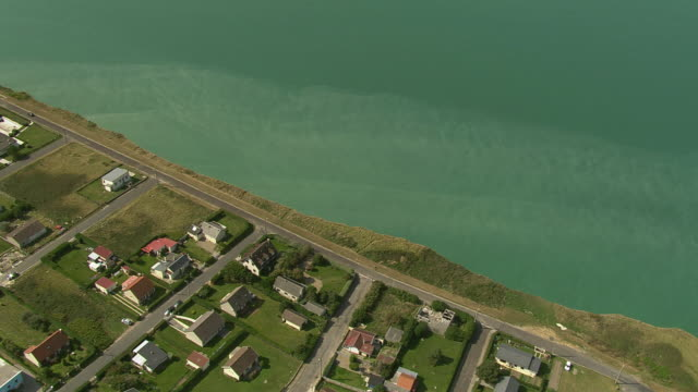 AERIAL, Town along coast, Mers les Bains, Picardie, France