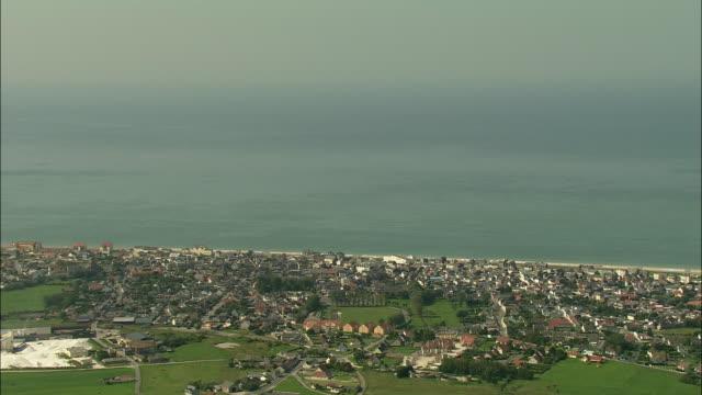 AERIAL, Town along coastline, Cayeux-sur-Mer, Picardie, France