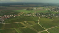 AERIAL WS Town and surrounding vineyards / Cote-d'Or, France