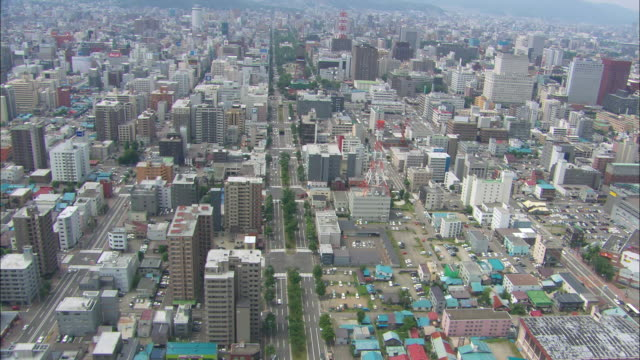 WS POV AERIAL  Town at sapporo / Hokkaido, Japan