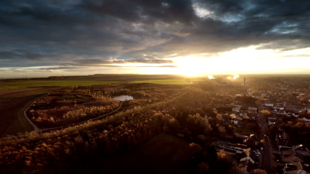 AERIAL : Town at Sunrise