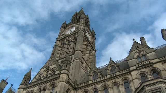 MS, LA, Town Hall clock tower, Manchester, England