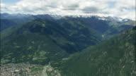 AERIAL Town in Alpine landscape, Domodossola, Piedmont, Italy
