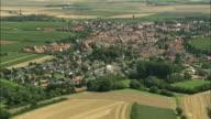 AERIAL Town in rural landscape, Eischbach, Rhineland, Germany
