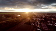 AERIAL: Town in sunrise light - Germany