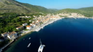 AERIAL Town on the island Vis
