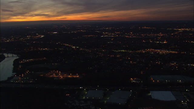 AERIAL WS Townscape at dusk / New Jersey, USA