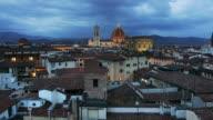 T/L ZO WS Townscape with Basilica di Santa Maria del Fiore, dusk to night, Florence, Tuscany, Italy